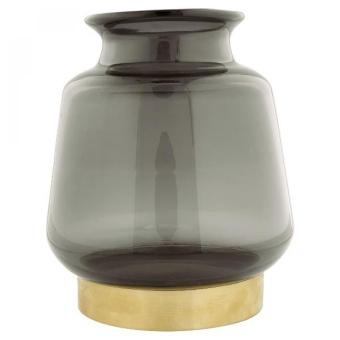 Greengate Vase grey cutting w/metal base