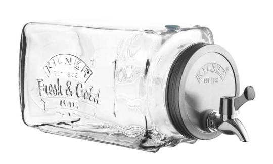 Kilner Kühlschrank Getränkespender mit Zapfhahn 3 Liter, 32,7x14x18 cm