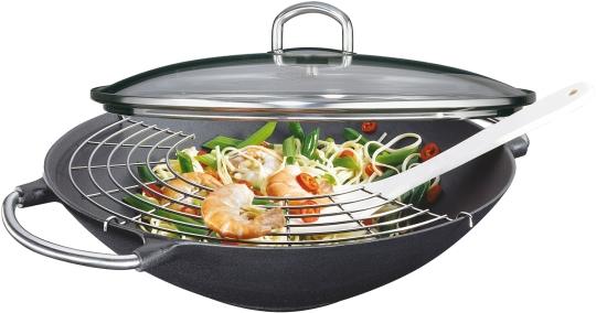 Küchenprofi Wok mit Glasdeckel Premium 36 cm
