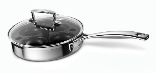 Le Creuset 3-Ply Sautepfanne mit Pochiereinsatz Glasdeckel