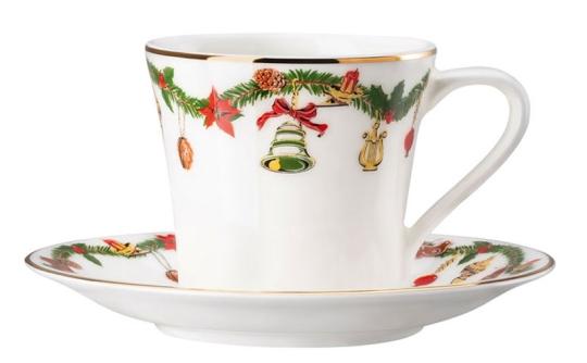 Hutschenreuther Espressotasse mit Untertasse Nora Christmas mit kostenlosem Espressolöffel Taste PVD Gold von Sambonet