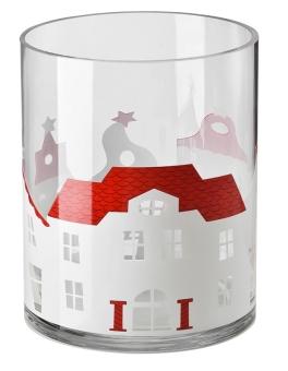 Hutschenreuther Little Christmastown Glas dekoriert Windlicht groß