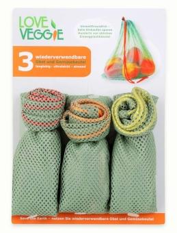 Slowroom 3er-Set Obst- und Gemüsebeutel wiederverwendbar
