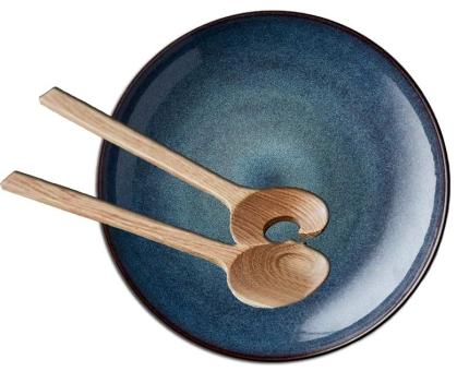 Bitz Set Servierschale rund 40 cm schwarz/dunkelblau + Salatbesteck 32 cm Eiche