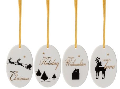 Hutschenreuther Merry Christmas 4er Set Anhänger Oval Shiny Gold