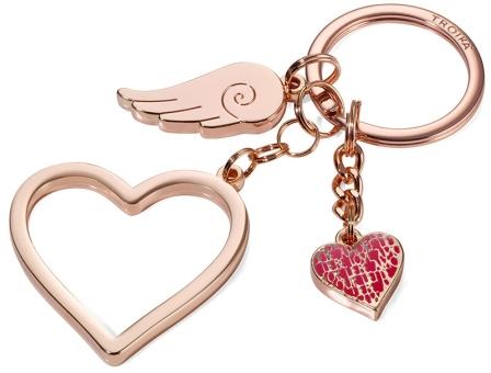 Troika Schlüsselanhänger mit 3 Anhängern Herz groß, Herz klein Flügel rose-gold