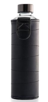 Equa Trinkflasche 750 ml Mismatch Graphite aus Borosilikatglas mit Kunstlederhülle und Metalltragegriff