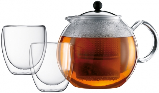 Bodum Assam Set Teebereiter 1,5 L mit 2 Doppelwandigen Gläser 0,25 L