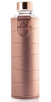 Equa Trinkflasche 750 ml Mismatch Bronze aus Borosilikatglas mit Kunstlederhülle und Metalltragegriff