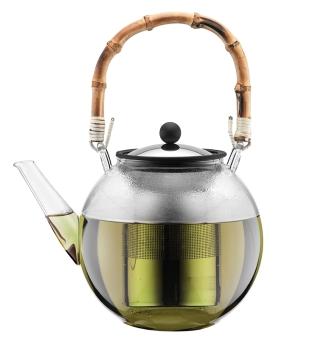 Bodum Teebereiter mit Edelstahlfilter und Bambus Henkel 1,5 L Assam bambus