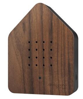 Zwitscherbox Holz Nuss/schwarz