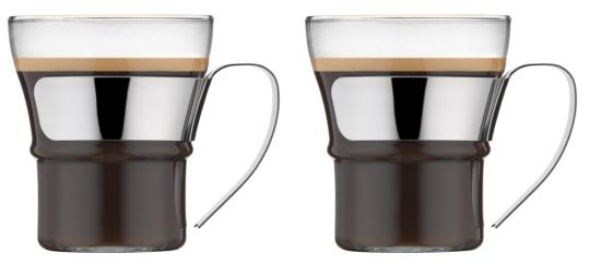 Bodum Assam Teeglas mit Metallgriff 0,3 L 2 Stk. Glänzend