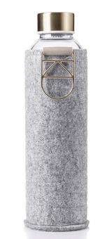Equa Trinkflasche 750 ml Mismatch Gold aus Borosilikatglas mit Filzcover und Metalltragegriff