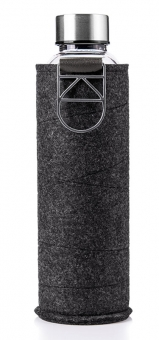 Equa Trinkflasche 750 ml Mismatch Silver aus Borosilikatglas mit Filzcover und Metalltragegriff
