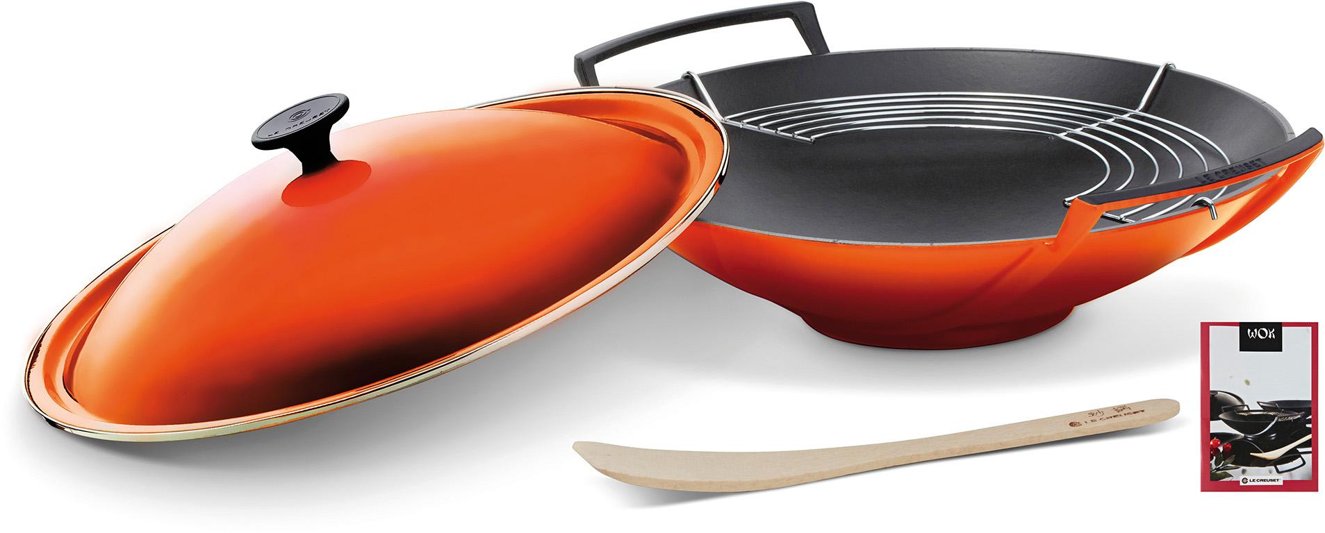 le creuset wok 36 cm 5 tlg ofenrot 26104360900460. Black Bedroom Furniture Sets. Home Design Ideas