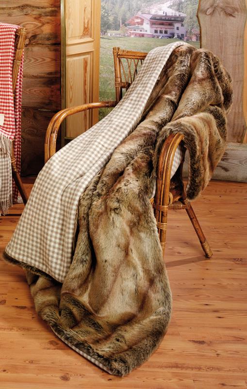 eskimo webpelzdecke fuchs vichy karo sand 130x170 cm h41r8. Black Bedroom Furniture Sets. Home Design Ideas