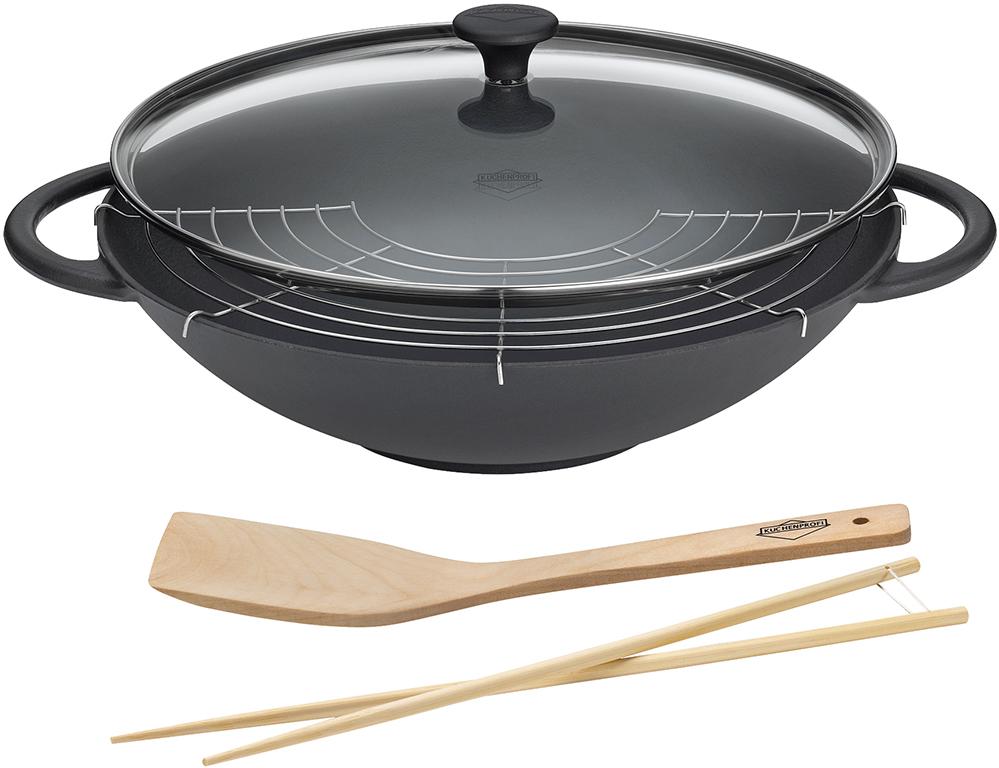 k chenprofi wok la cuisine mit glasdeckel schwarz 36 cm 0415001037 tritschler. Black Bedroom Furniture Sets. Home Design Ideas